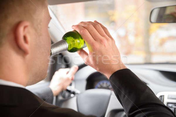 Stok fotoğraf: Adam · içme · bira · sürücü · araba