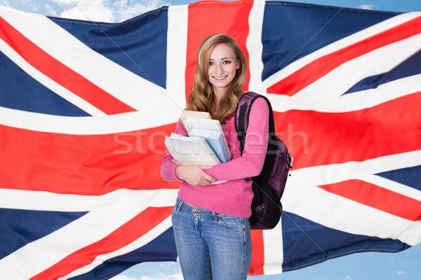 Foto stock: Jovem · feminino · estudante · livros · retrato