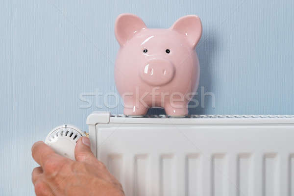 Man Holding Thermostat With Piggy Bank On Radiator Stock photo © AndreyPopov