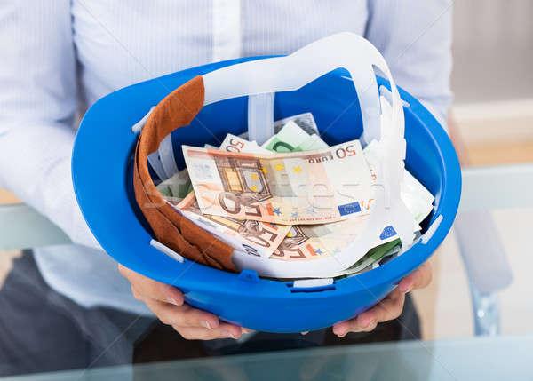 Empresario casco de seguridad azul completo Foto stock © AndreyPopov