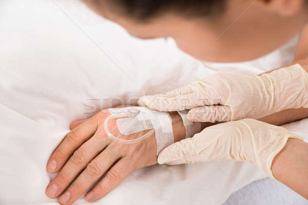 Close-up Of A Iv Drip In Patient's Hand Stock photo © AndreyPopov