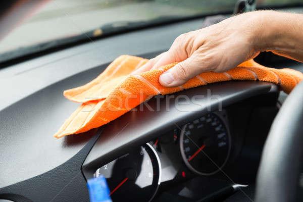 Férfi munkás takarítás autó műszerfal kép Stock fotó © AndreyPopov