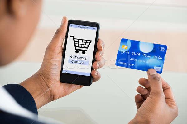 Foto stock: Mulher · compras · telefone · móvel · cartão · tecnologia