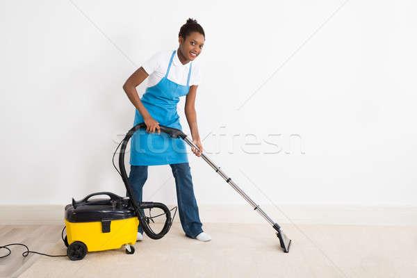 女性 真空掃除機 階 小さな 幸せ ストックフォト © AndreyPopov