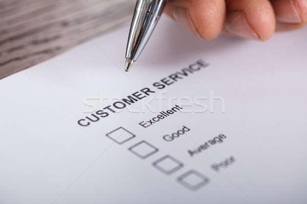 Obsługa klienta zadowolenie badanie formularza osoby Zdjęcia stock © AndreyPopov