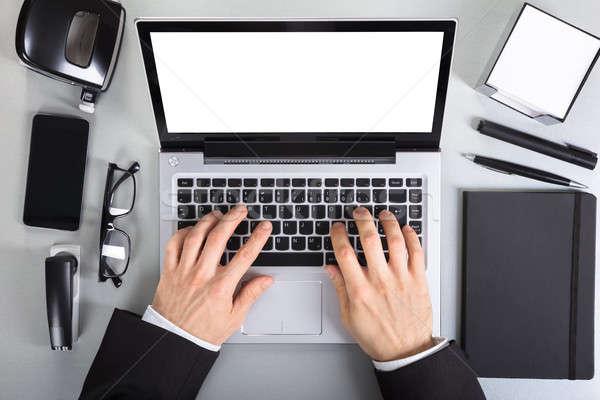 Stockfoto: Met · behulp · van · laptop · kantoor · man