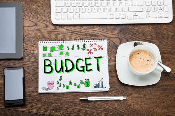 Orçamento financeiro plano desenho bloco de notas secretária Foto stock © AndreyPopov