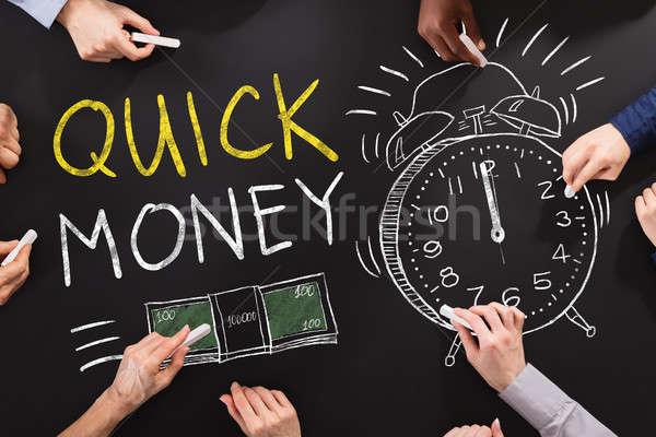 クイック お金 手 図面 黒板 ビジネス ストックフォト © AndreyPopov