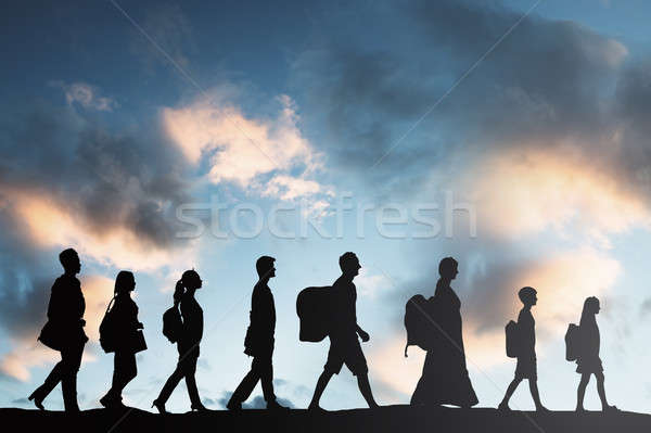 Mensen bagage lopen rij silhouet vrouwen Stockfoto © AndreyPopov