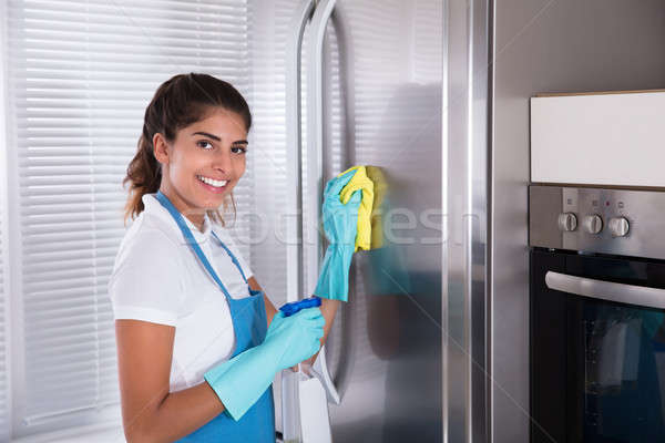 Mulher limpeza aço inoxidável geladeira feliz pano Foto stock © AndreyPopov