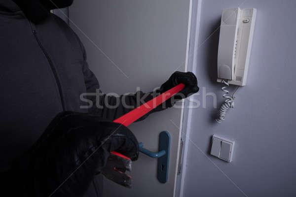 Foto stock: Ladrón · romper · puerta · hombre · casa · metal