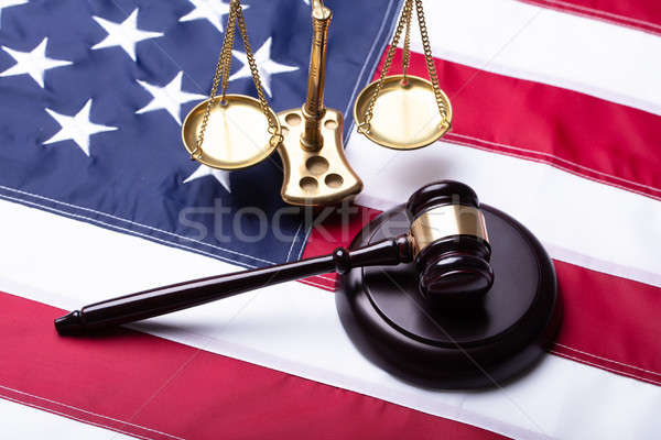 Elevated View Of Gavel And Golden Justice Scale Stock photo © AndreyPopov