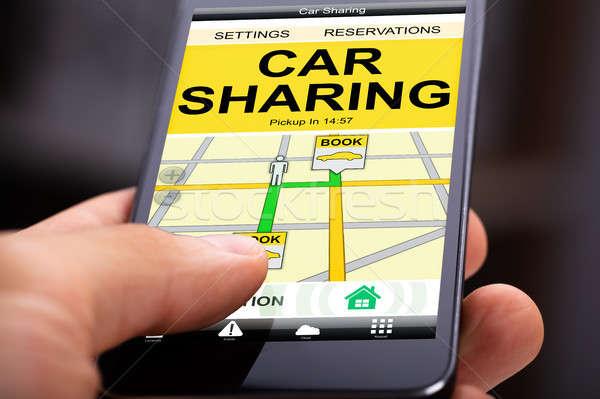 Auto Teilung Anwendung mobile Bildschirm Person Stock foto © AndreyPopov