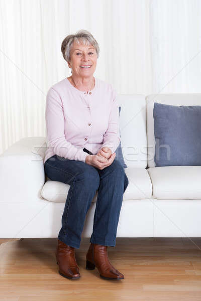 Stockfoto: Senior · vrouw · vergadering · bank · portret · medische