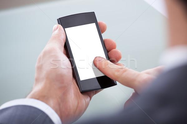 Stockfoto: Mobiele · telefoon · telefoon · werken