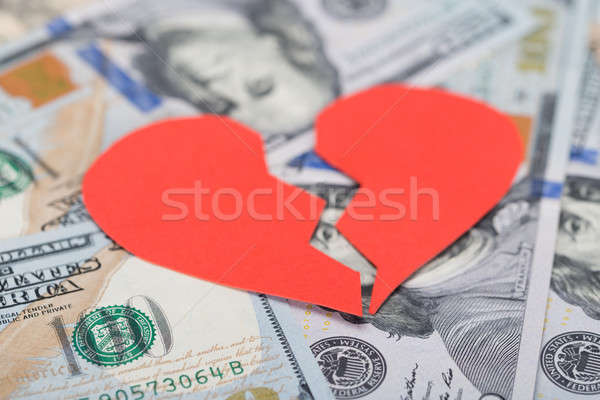 Broken Heart On Dollar Bills Stock photo © AndreyPopov