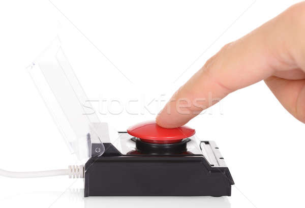 Finger Using Red Button Stock photo © AndreyPopov