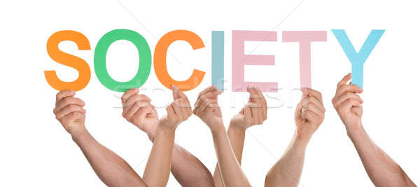 Hands Holding Letters To Form Society Stock photo © AndreyPopov