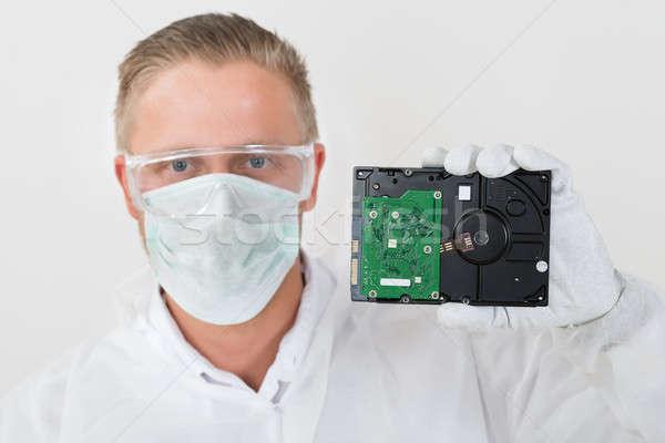 Portret młodych komputera człowiek Zdjęcia stock © AndreyPopov