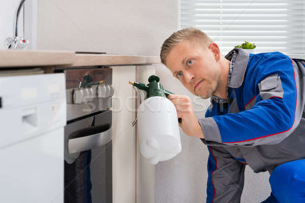 Worker With Pesticide Sprayer Stock photo © AndreyPopov