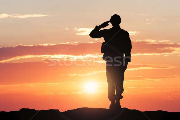 Soldado puesta de sol silueta amanecer negro servicio Foto stock © AndreyPopov