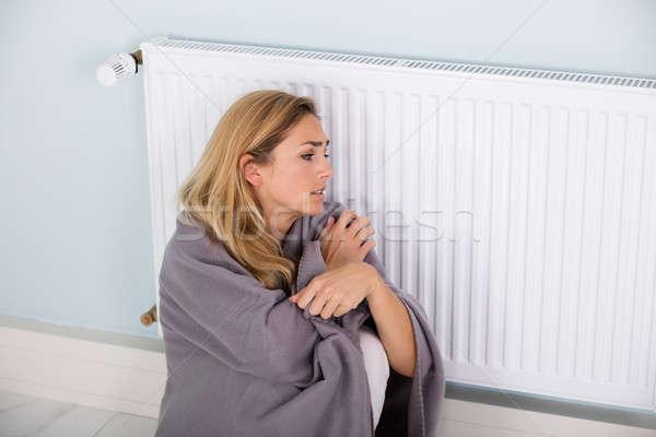 Kadın battaniye oturma termostat genç soğuk Stok fotoğraf © AndreyPopov