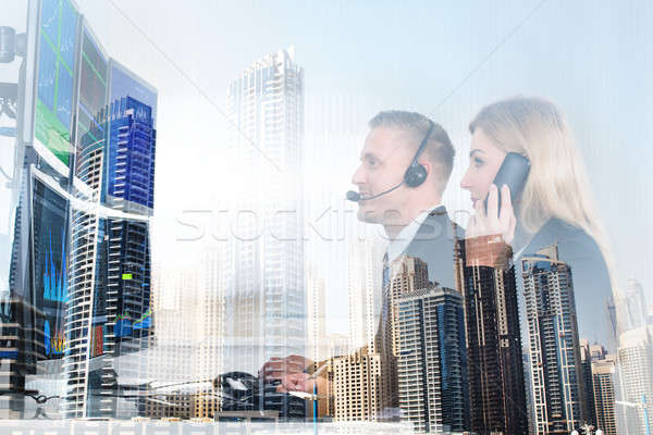 Stock Market Brokers And Modern Office Buildings Stock photo © AndreyPopov