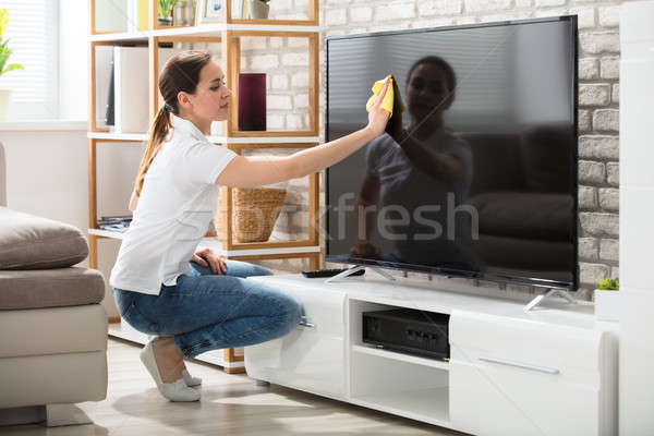 Woman Wiping The Television Screen At Home Stock photo © AndreyPopov