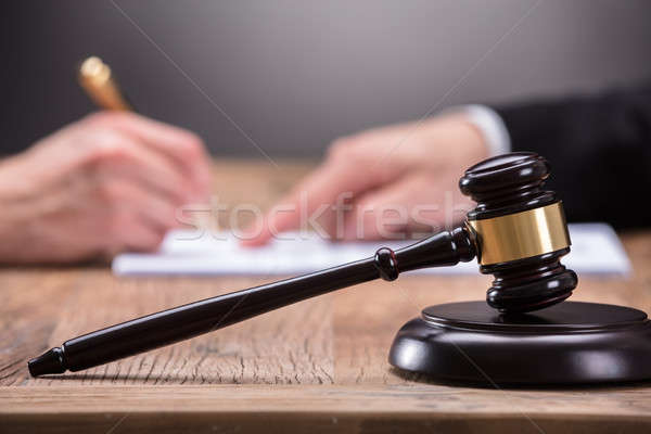 Close-up Of A Gavel On Wooden Desk Stock photo © AndreyPopov