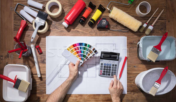 Architect's Using Color Guide Swatch And Calculator Stock photo © AndreyPopov