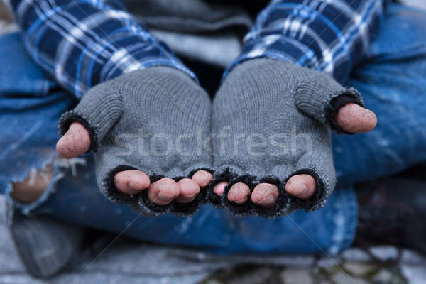 Close-up Of A Beggar's Dirty Fingers Stock photo © AndreyPopov