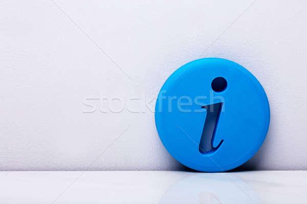3D kék információ jel fotó információ ikon Stock fotó © AndreyPopov