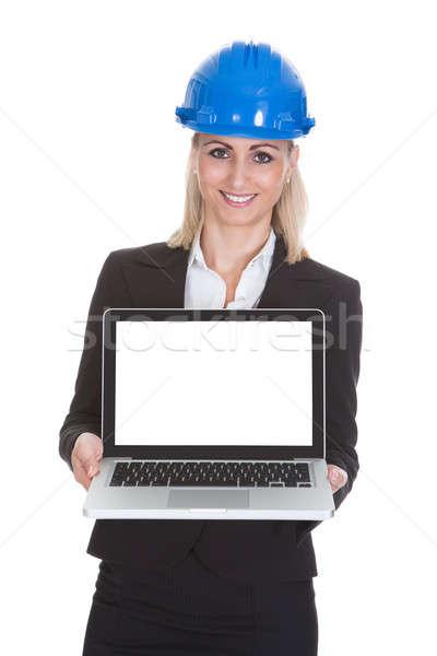 Stock fotó: Női · építész · tart · laptop · portré · boldog