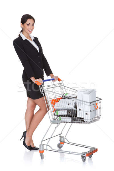 Attractive Businesswoman With Shopping Cart Stock photo © AndreyPopov