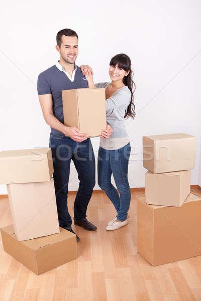 Stockfoto: Paar · bewegende · gelukkig · vrouw