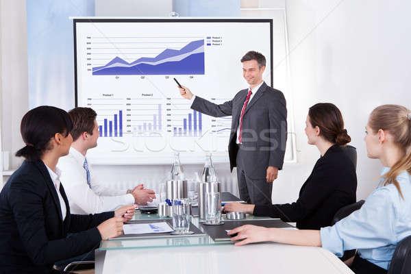 üzletember magyaráz grafikon érett kollégák ül Stock fotó © AndreyPopov