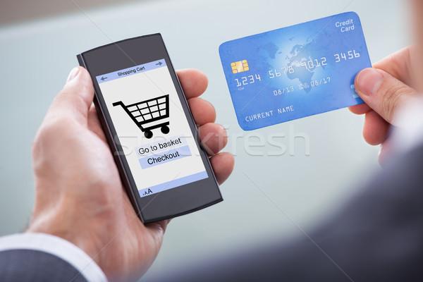 Stockfoto: Mobieltje · creditcard · mobiele · telefoon · tonen