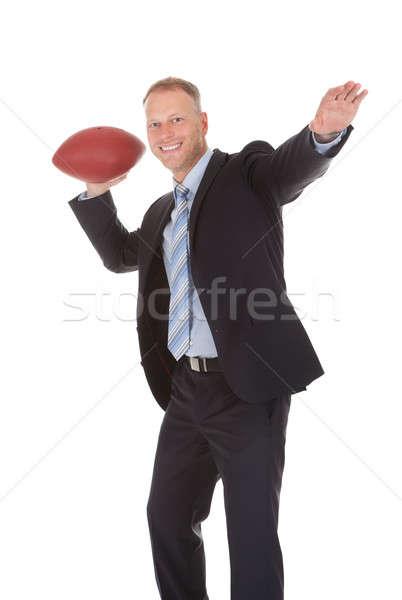 бизнесмен мяч для регби портрет взрослый белый Сток-фото © AndreyPopov