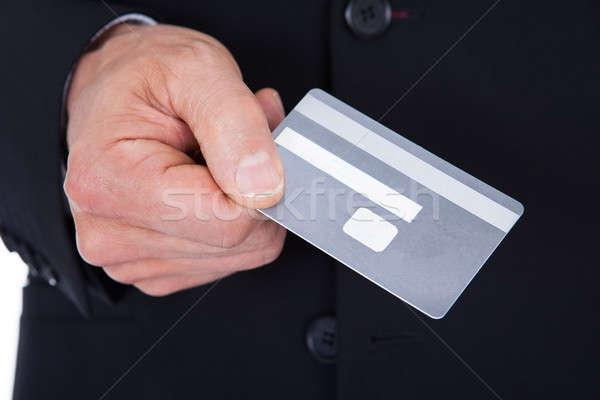 Foto stock: Empresario · tarjeta · de · crédito · primer · plano · traje · dinero
