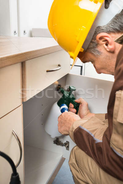Pest Control Worker Spraying Pesticides Inside Cabinet Stock photo © AndreyPopov