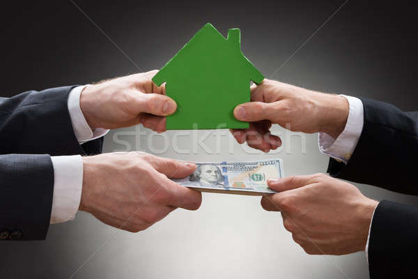 Businesspeople Holding House Model And Money Stock photo © AndreyPopov