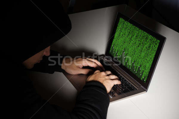 ハッカー コンピュータ デスク 入力 バイナリコード コンピュータ ストックフォト © AndreyPopov