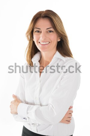Happy Hostess Standing Arms Crossed Stock photo © AndreyPopov
