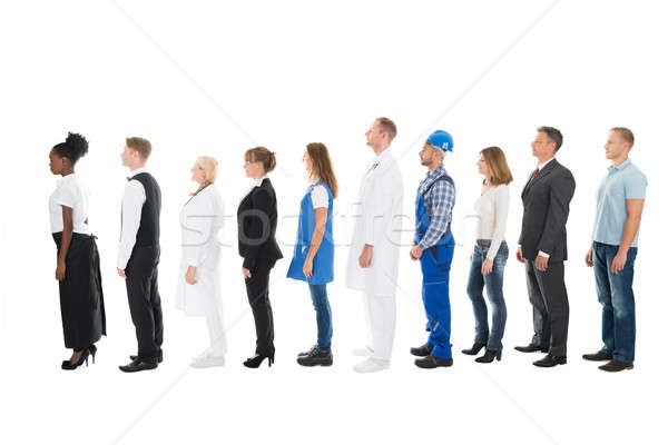 People With Various Occupations Standing In Queue Stock photo © AndreyPopov