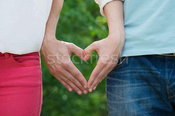 пару формы сердца стороны дерево Сток-фото © AndreyPopov