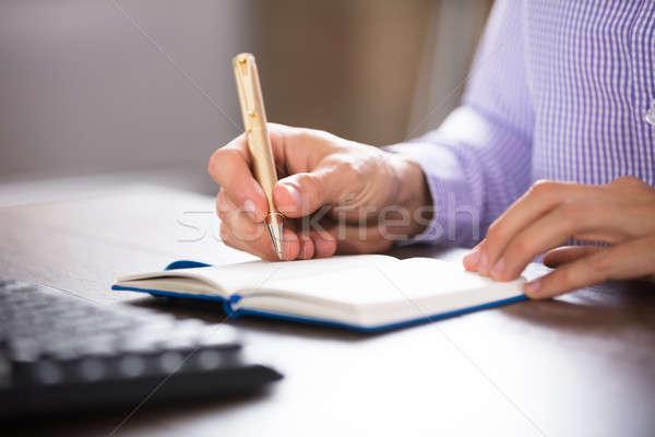üzletember ír napló arany toll asztal Stock fotó © AndreyPopov