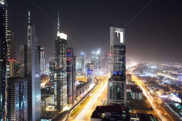 Sheikh Zayed Road At Night Stock photo © AndreyPopov