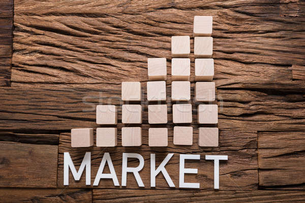 Market Text By Increasing Bar Graph Blocks On Wood Stock photo © AndreyPopov