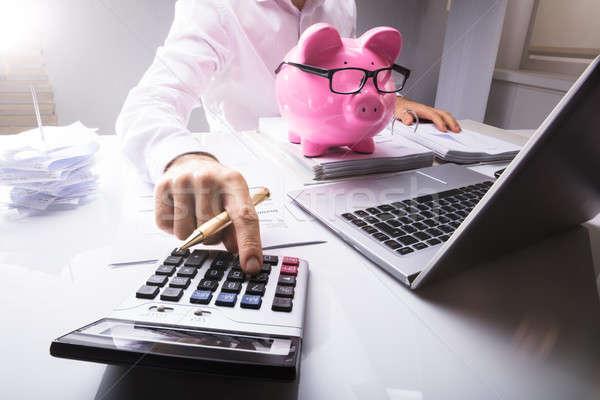 üzletember adó számológép persely laptop asztal Stock fotó © AndreyPopov