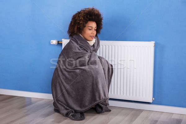 Femme séance chauffage maison jeune femme couverture Photo stock © AndreyPopov